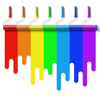 Pędzel rolkowy z farbą w kolorach tęczy