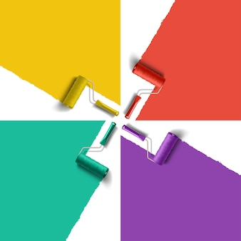 Pędzel rolkowy z farbą w różnych kolorach