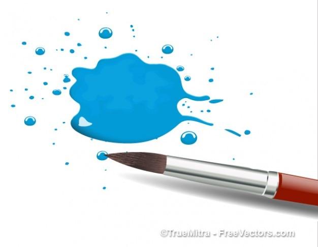 Pędzel z niebieskim plusk