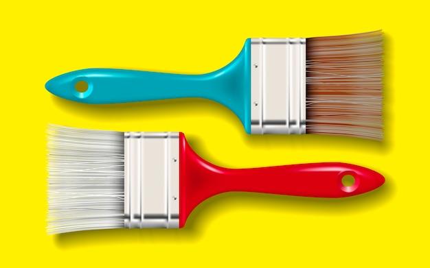 Pędzel z włosia farby z kolorową rączką i cieniem