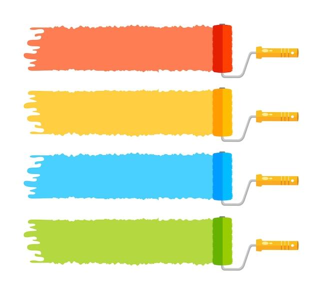 Pędzle rolkowe ustawiają cztery kolorowe paski