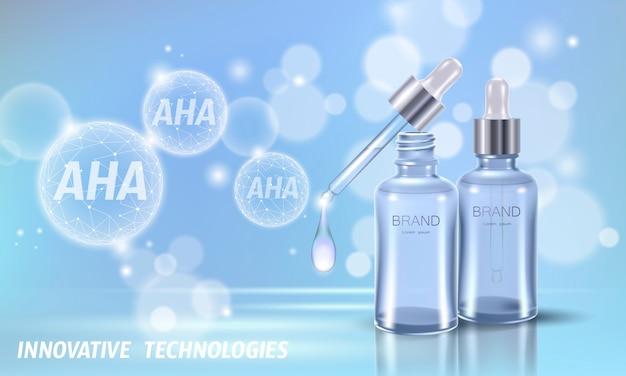 Peeling kosmetyczny z kwasem owocowym. pipeta szklana z kroplami aha glikolowe kwasy mlekowe złuszczające serum odmładzające przeciwzmarszczkowe. medyczne leczenie skóry low poly wielokąta ilustracji