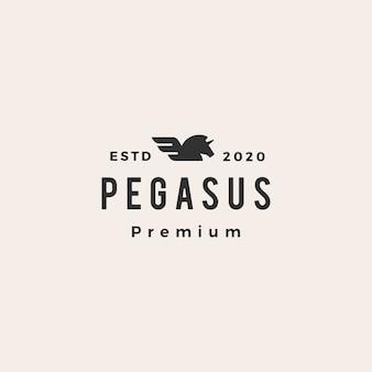 Pegaz jednorożec skrzydło hipster vintage logo ikona ilustracja