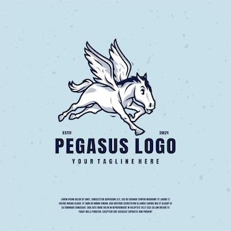 Pegaz logo ilustracja logo wektor premium