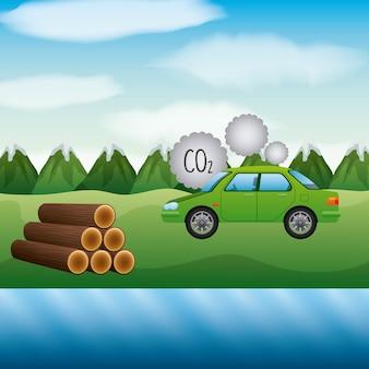 Pejzaż góry trzcina cukrowa i samochód co2 biopaliwo