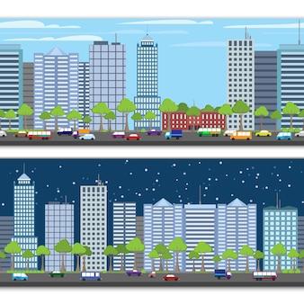 Pejzaż miejski bezszwowy wzór