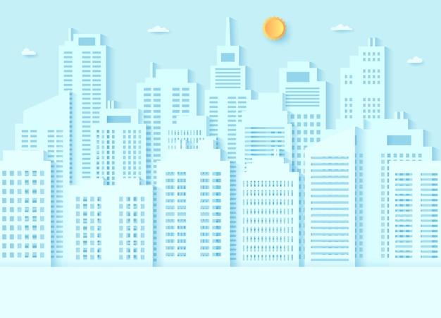 Pejzaż miejski, budynek z błękitnym niebem i jasnym słońcem, papierowy styl artystyczny