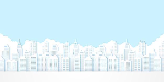 Pejzaż miejski, budynek z niebieskim niebem, papierowy styl artystyczny