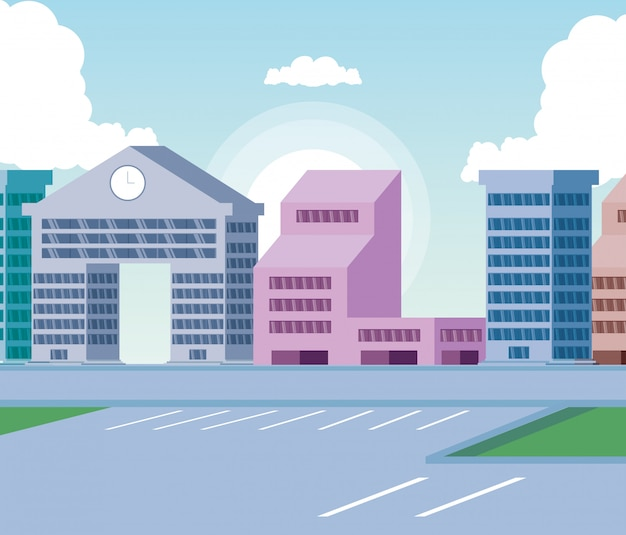 Pejzaż miejski budynków sceny dzień z drogą
