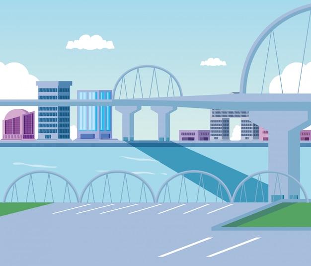 Pejzaż miejski budynków sceny dzień z mostem