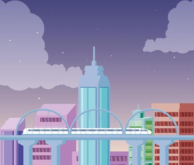 Pejzaż miejski budynków sceny noc z mostem