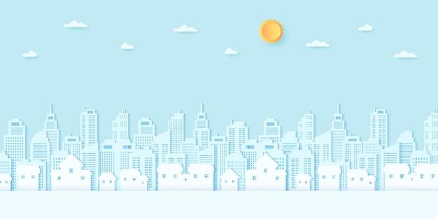 Pejzaż miejski, mieszkalny, dom, budynki z niebieskim niebem i słońcem, papierowy styl artystyczny