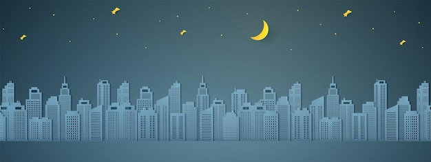 Pejzaż miejski nocą, budynek z półksiężycem i gwiazdą, papierowy styl