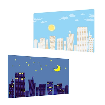 Pejzaż miejski w dzień i w nocy