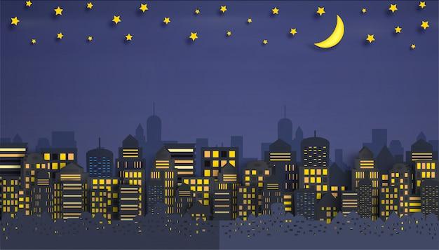 Pejzaż miejski z grupą drapacze chmur w nocy.