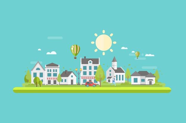 Pejzaż miejski z płaską ilustracją stawu