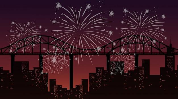 Pejzaż miejski z świętowanie fajerwerków sceną