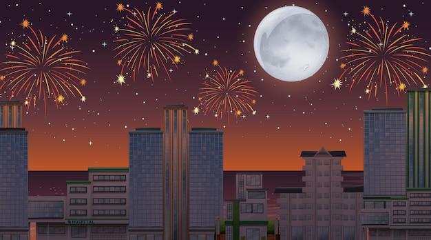 Pejzaż miejski ze sceną fajerwerków uroczystości