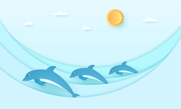 Pejzaż morski, delfiny z falami morskimi, błękitne niebo ze słońcem i chmurą, papierowy styl artystyczny