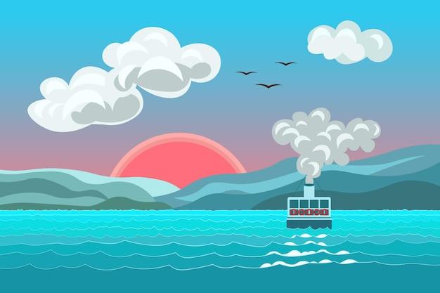 Pejzaż morski statek cieśniny bosfor z dymem i chmurami