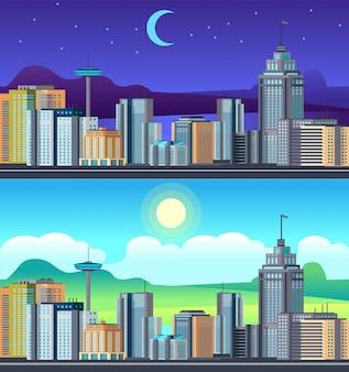Pejzaż nocny dzień. budynki centrum biurowego miasta, zestaw węża hotelowego na dzień
