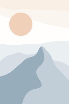 Pejzaż terra kształt fali element plakat boho