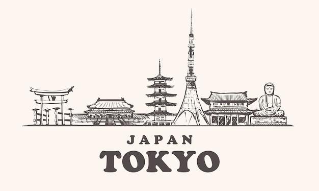 Pejzaż tokio, japonia