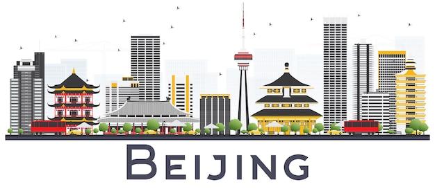 Pekin china city skyline z szarymi budynkami na białym tle. ilustracja wektorowa. podróże służbowe i koncepcja turystyki z nowoczesnymi budynkami. pekin gród z zabytkami.