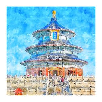 Pekin, chiny, akwarela, szkic, ręka, pociągnięty, ilustracja