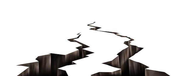 Pęknięcia gruntu, dziury po pęknięciu trzęsienia ziemi, zniszczona powierzchnia ziemi zmiażdżona tekstura.