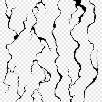 Pęknięcia ściany na przezroczystym tle