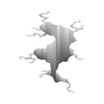 Pęknięcia trzęsienia ziemi. efekt otworu i popękana powierzchnia. dziura w ziemi z pękaniem i zniszczeniem ziemi pęknięcia na białym tle kreskówka. ilustracja