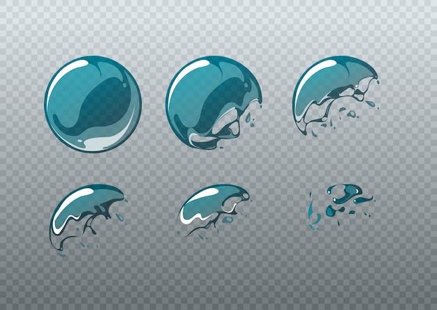Pęknięcie bańki mydlanej. ramki animacji ustawione w stylu kreskówki. piłka okrągła czysta, mydlana postać sferyczna, ilustracji wektorowych