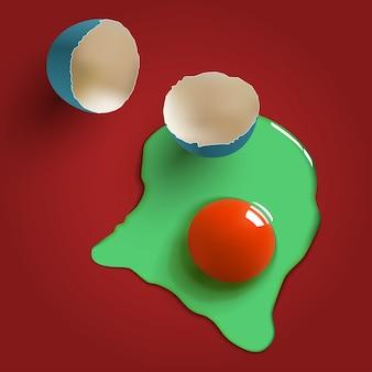 Pęknięte surrealistyczne surowe jajko, skorupka, żółtko i białko