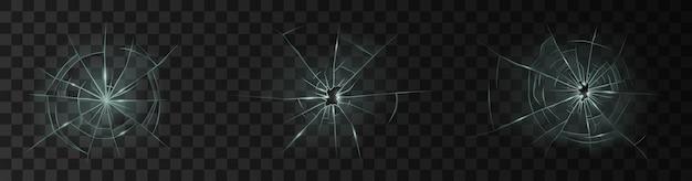 Pęknięte szkło. rozbite okno, rozbita szklana powierzchnia i rozbicie szyby przedniej szyby tekstura realistyczny zestaw 3d lub ikony na przezroczystym tle. ilustracja wektorowa