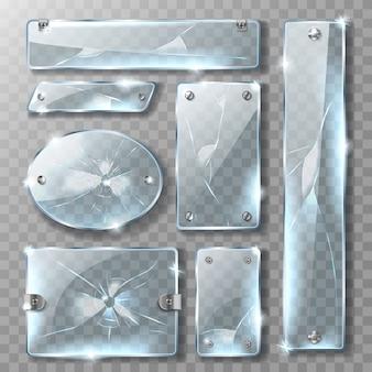Pęknięte szkło z metalowymi śrubami