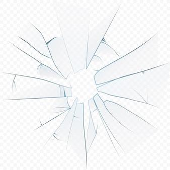 Pęknięte zmiażdżone realistyczne szkło na transperantowym tle alfa.