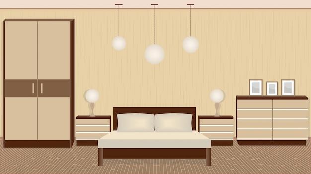 Pełen wdzięku wnętrze sypialni w ciepłych kolorach z meblami, lampami, ramkami do zdjęć