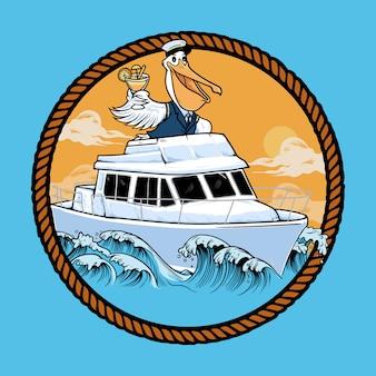 Pelikan koktajl yatch ilustracja
