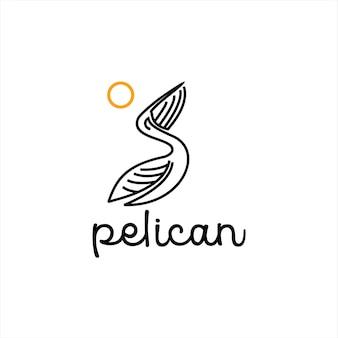 Pelikan logo projekt ptak zwierząt wektor