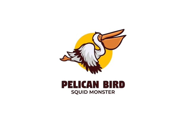 Pelikan ptak logo maskotka
