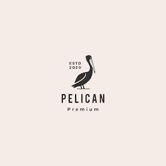Pelikan zatoki ptaka wybrzeża plaży loga ikony modnisia ilustracyjny rocznik retro