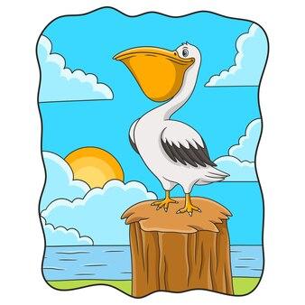 Pelikany ilustracja kreskówka siedzący na pniach drzew w pobliżu rzeki