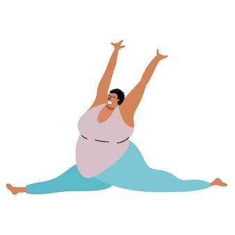 Pełna czarna dziewczyna robi jogę body positive