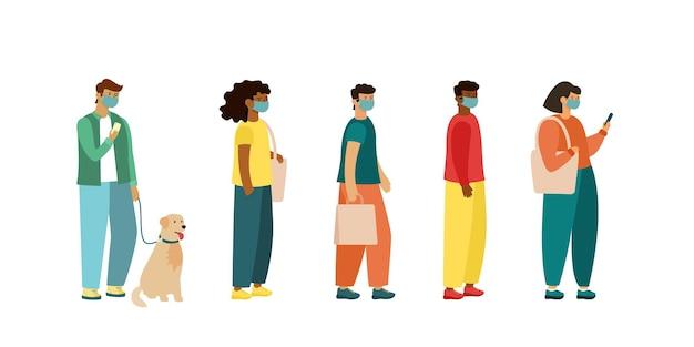 Pełna długość kreskówek chorych ludzi w maskach medycznych stojących w kolejce