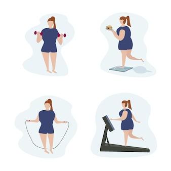 Pełna kobieta z nadwagą jest aktywna w sporcie. ćwiczenia fizyczne i sprawność do odchudzania. pozytywne ciało i zdrowy styl życia. płaski wektor