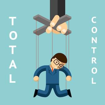 Pełna kontrola. kukiełka biznesmena. sznur i autorytet, marionetka i przywództwo, menadżerowie, lalka i pracownica