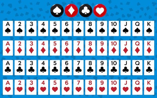 Pełna talia kart do gry w pokera i kasyna.