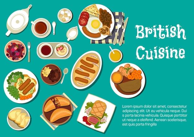 Pełne śniadanie angielskie serwowane z puree ziemniaczanym z kiełbasą i sosem cebulowym, wołowina w cieście i kiełbaski w puddingu yorkshire, gulasz jagnięcy i pasztety mięsne, czarna herbata