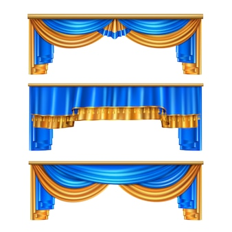 Pełne tomowe złote błękitne luksusowe drapowanie zasłony ustawiają 3 realistycznych domowych dekoracj nadokiennych pomysłów odizolowywającą ilustrację